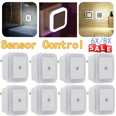 0.5W Plug-in Auto Sensor Control LED Night Light Lamp for Bedroom Hallway WhiteM