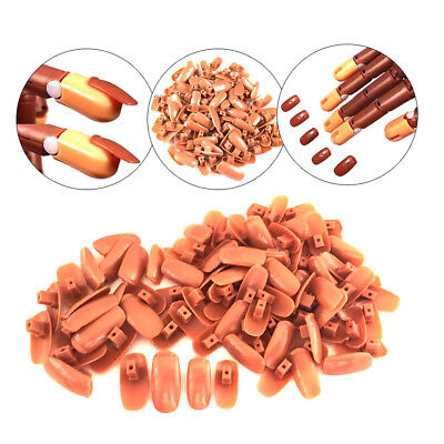 Practical Finger  Flexible Refill Hand Practice Trainer Nail Tips Brown 100Pcs