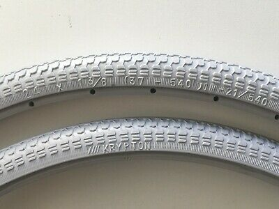 Pair of Krypton Solid Wheelchair Tyres - Grey - Size 24 x 1-3/8