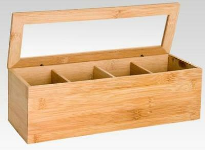Bamboo Tea Box Wooden Container 4 Sections Storage Kitchen Caddy Compartments
