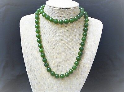 Vintage Chinese Green Jade Large 12mm Bead NeckLace 91 cm Long