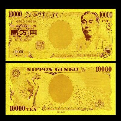 Banknote Japan 10000 Yen Gold 24Kt 99.9% Bank Note Banknote A Perfect Gift