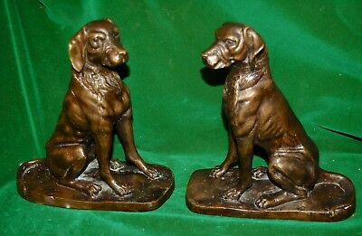 """Beautiful Pair Vintage Cast Bronze ? Seated Hunting Dogs 9.25"""" Tall 2 Kilo Each"""