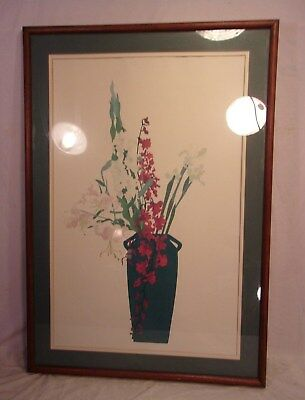 LARGE vintage mid century OAK frame with print 28 1/4 x 40 3/4