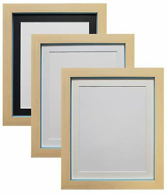 Magnus Beech with Teal Blue Picture Photo Frames with White, Black & Ivory Mount