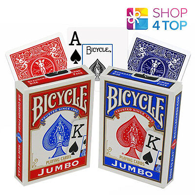 2 Decks Bicycle Rider Back Playing Cards Jumbo Index 1 Red 1 Blue Made In Usa