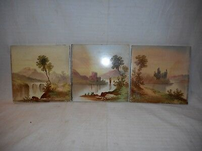3 handpainted antique tiles