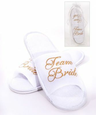 White TEAM BRIDE Spa Slippers for the Bride to Be GOLD Embroidery Hen Party
