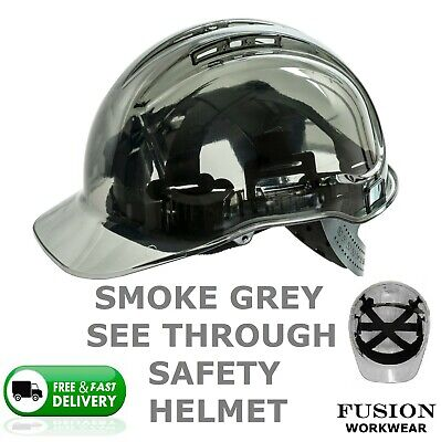 Smoke Grey See Through Safety Helmet,Pv50,Pv54, Builders,Height Working,Hard Hat