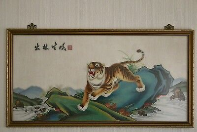 Chinese Oriental Silk Embroidery Panel Tiger Signed Large