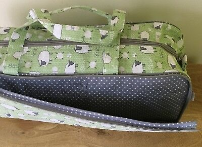 Long Knitting Bag 'Sheep' Design With Zip Front For Knitting Pin Storage