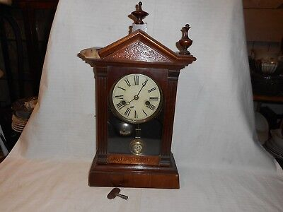 antique German, Uhrenfabric teutonia, Schutzmark mahogony mantle clock