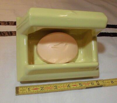 Vintage…NOS...Butter Yellow…Ceramic…Soap Dish with Grab Bar…by The Fairfacts Co.