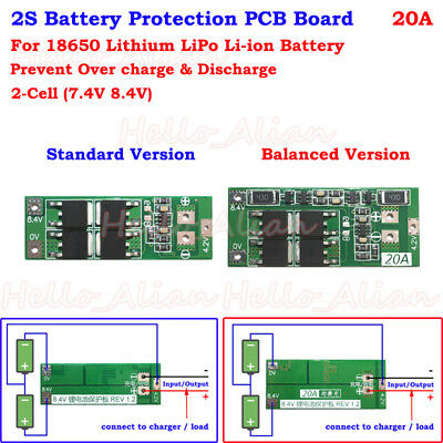 2S 20A 7.4V 8.4V Lithium Li-ion 18650 Battery BMS Charger Protection PCB Board