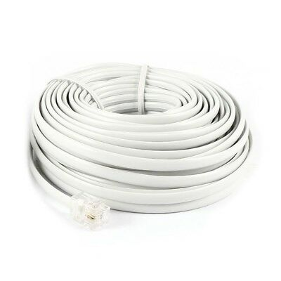 5X(40Ft 12M RJ11 6P2C Telephone Phone Modem Cord Cable White 2pcs B7L7)