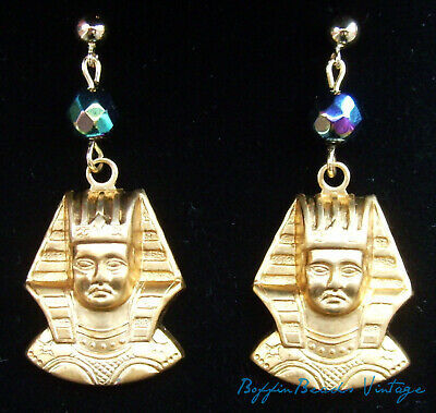 Vintage carnival glass EARRINGS Egyptian Revival brass King Tutankhamun 14K