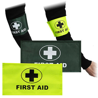 First Aid Aider Medical Armband ID Badge Green Yellow Universal Size Sleeve