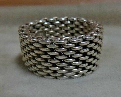 Tiffany & Co. Somerset Sterling Silver 925 Mesh Band Ring. Size 8