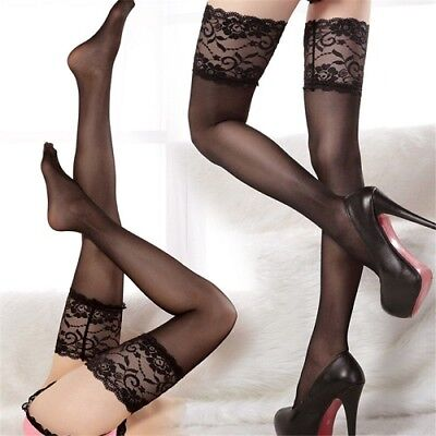 Women's Lace Sexy Top Stay Up Thigh High Stockings Pantyhose Nightclubs Fishnet