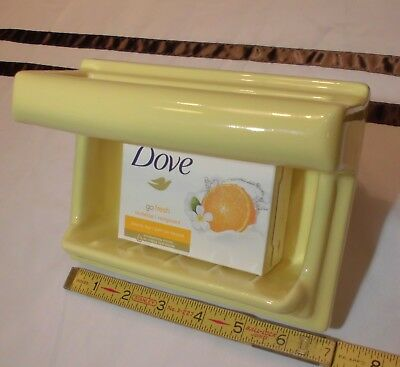 "Vintage *Citrus Yellow* Ceramic Recessed Soap Dish with Grab Bar, 5"" X 7""  ""NOS"""