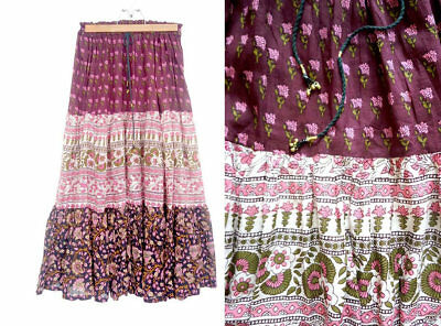 Indian cotton skirt / 1970s pink indian gauze skirt / indian full sweep skirt