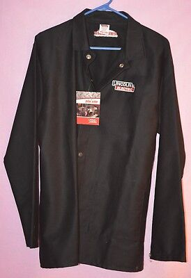 Lincoln K2985 BLACK Traditional  Cloth Welders Welding Jacket Size LARGE