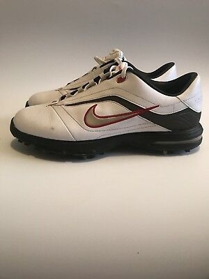 Nike Air Power TAC Golf Shoes - Men's Size 9.5 white gray and red check trim
