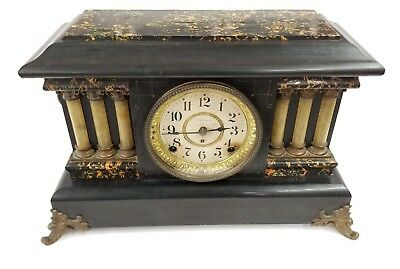 Antique Seth Thomas Adamantine 6-Column Mantle Shelf Clock w/ Lion Heads