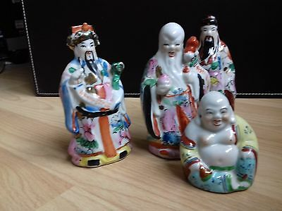 chinese porcelain three figures-gods with laughing budha, perfect condition