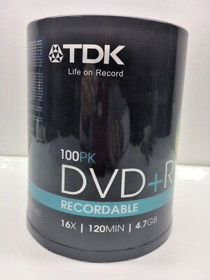 TDK-100-Pack-DVD+R-Discs-16x-120Min-4-7GB   -NEW