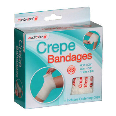 Masterplast Crepe Bandages - 3 Pack Includes Fastening Clips