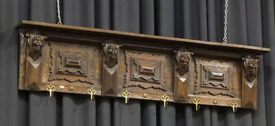 Antique 1910 Flemish Renaissance Wood carved Coat rack lion heads
