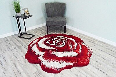 TWIST Free Shape 3D Hand Carved ROSE Flower 5x5 Round 3373 Red