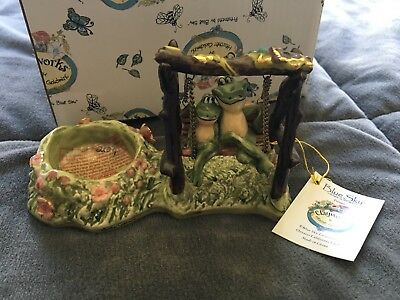 Rare Clayworks Blue Sky Lilly Pad Inn Swingers Frog Tealight Candle Holder