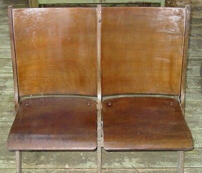 Antique Wood Folding Chairs - Pair / Theater / Stadium seats / seating