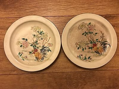 Antique Japanese Pair Hand Painted Rooster Old Porcelain Plates Signed