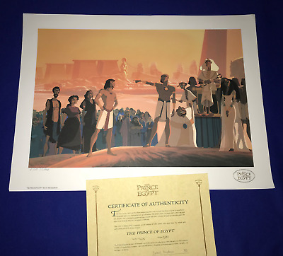 vintage 1998 LARGE Prince of Egypt Dreamworks MOVIE LITHO/POSTER/ART #'d W/COA