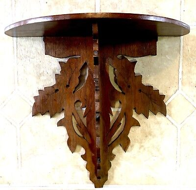 Antique Victorian Eastlake-Black Forest-Walnut-Wood Shelf-Hand Carved-Leaves