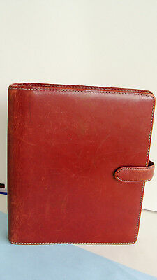 """Classic 1.25"""" -Rings Red Distressed LEATHER FRANKLIN COVEY Planner/Binder ~ USED"""