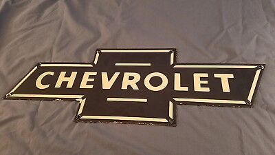 Vintage Chevrolet Porcelain Bowtie Gas Automobile Trucks Service Station Sign