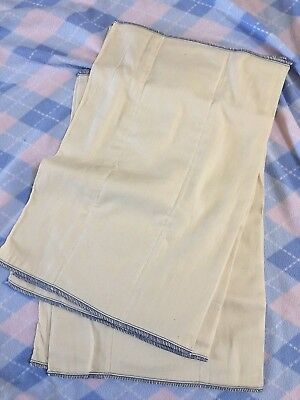 Lot 6 New Unbleached Cotton Cloth Prefold Diapers Baby Toddler Blue Stitching