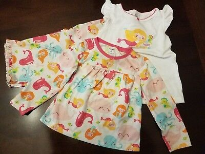 girls size 4T Carter's pajama set 3 piece mermaid pj's multi-color pink blue
