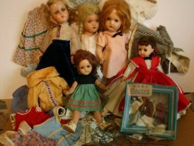 Vintage Madame Alexander And R&b Dolls Compo Hp Clothing Accessory Lot Tlc