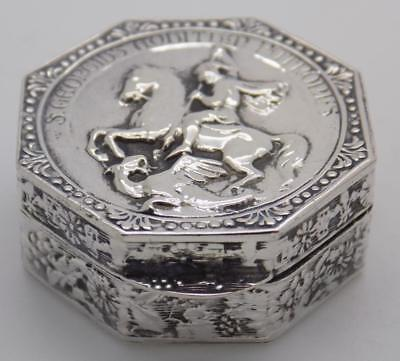 Vintage Solid Silver Italian Made Knight Pill / Snuff Box, Stamped, RARE