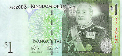 Tonga 1 Paanga Pa'anga, ND 2008 P.37 Low Serial Number 002003 AU