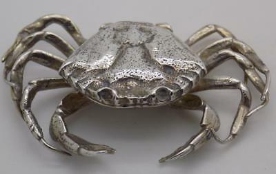 Vintage Solid Silver Italian Made REAL LIFE SIZE Crab Box, Stamped, RARE
