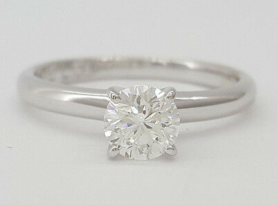 0.58 ct 14k White Gold & Platinum Leo Round Diamond Solitaire Engagement Ring