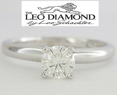 0.46 ct 14k White Gold & Platinum Leo Round Diamond Solitaire Engagement Ring