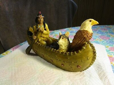 """Youngs Native American Indian Canoe Wolf and Eagle Cast Resin Figurine 9.5"""""""