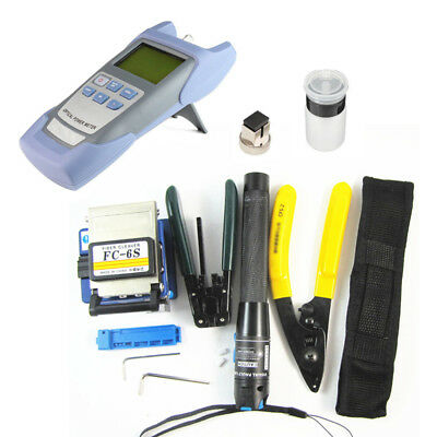 Fiber Optic FTTH Tool Kit Set Power Meter FC-6S Optical Cleaver Finder Durable